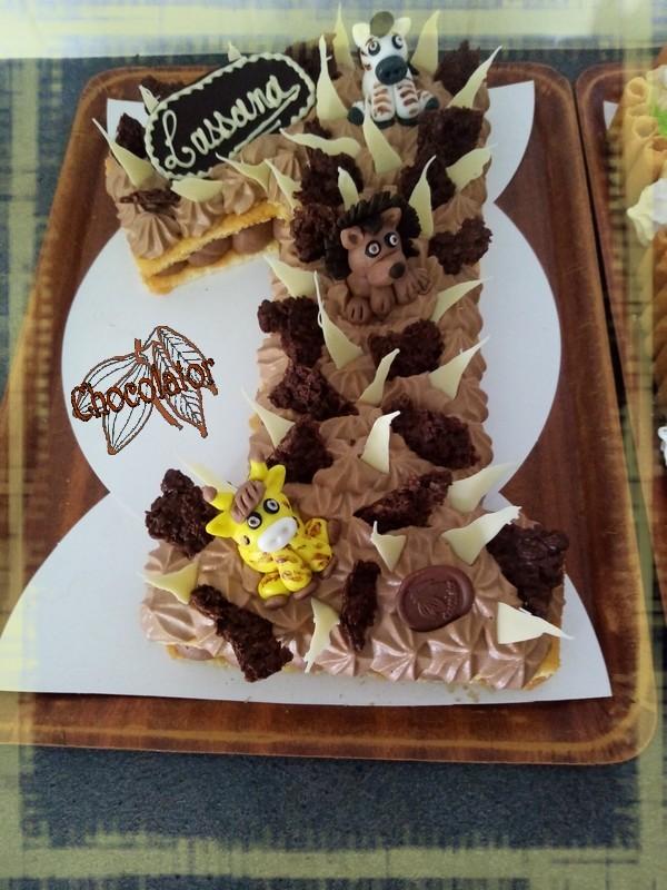 Number cake chocolat praline